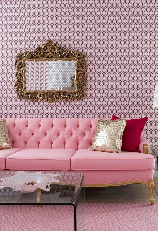 Sala em tons de rosa