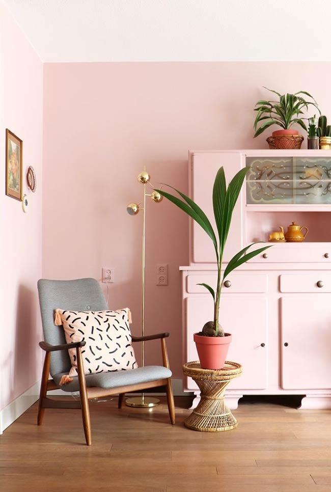 Armario e parede rosa