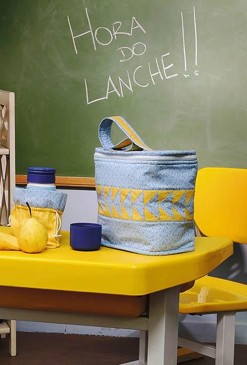 Bolsa para lanches com patchwork