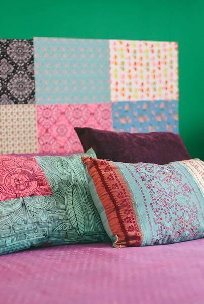 Cabeceira de cama com patchwork