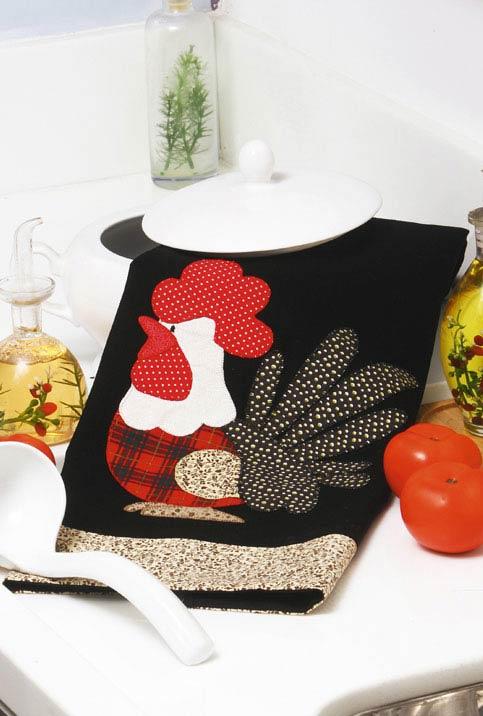Pano de prato de galinha com patchwork