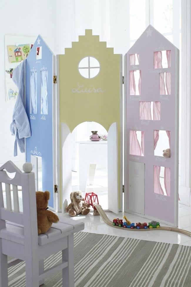 Biombo para quarto infantil com janelinhas e portas