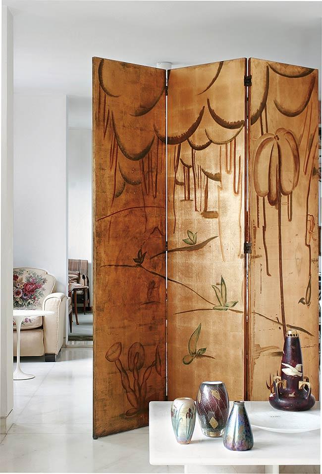 Biombo em 3 faces de madeira