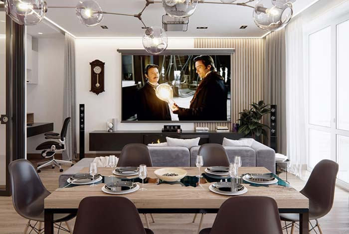 Cinema com sala de jantar