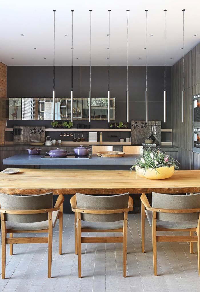 Cozinha gourmet moderna e rústica