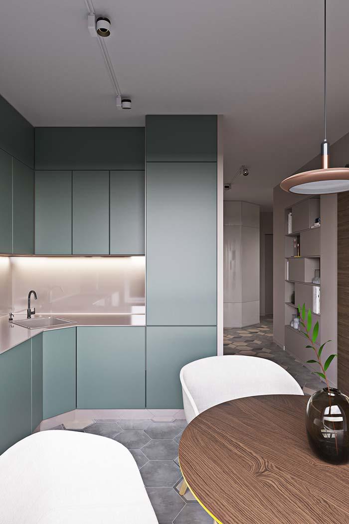Cozinha em L azul