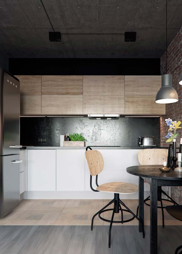 Cozinha em L rústica