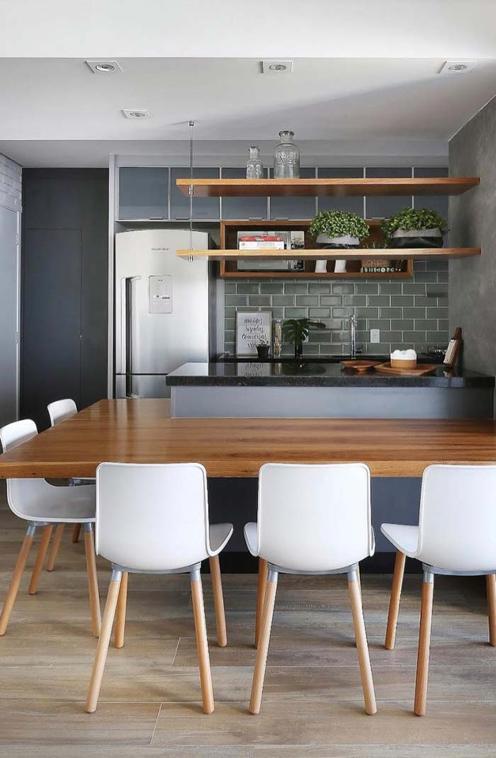 Mesa ao redor da cozinha americana