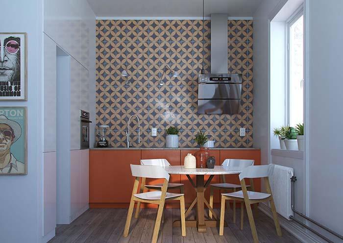 Cozinha em L embutida na parede