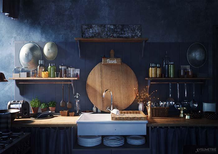 Cozinha simples de cortininha