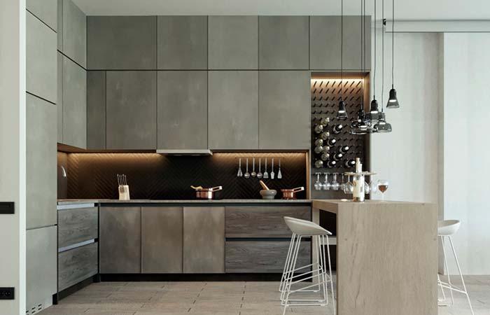 Cozinha com linhas retas e cor sóbria