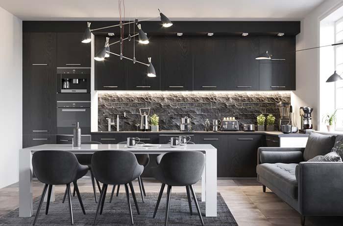 Cozinha moderna com sofá