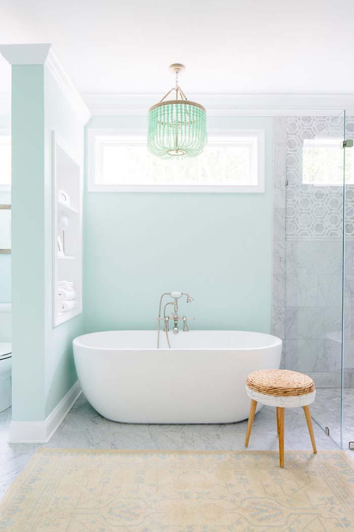 Banheiro em tom de menta