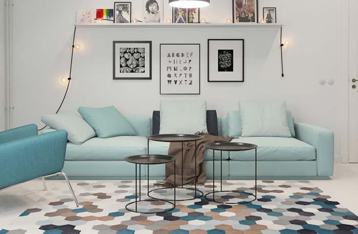 Sala em tons clarinhos de azul