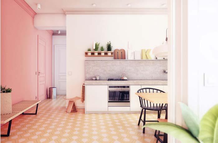 A casa rosada com tons pastéis