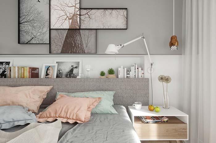 Quarto com ambiente branco e cinza
