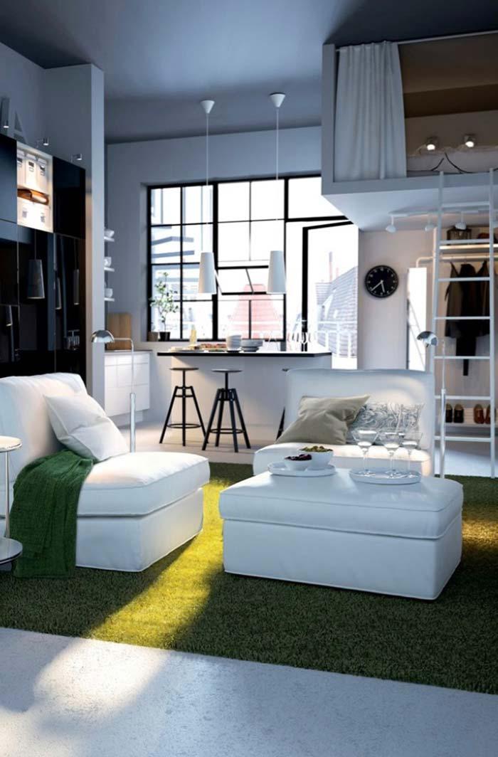 Toque verde na decoração de sala pequena
