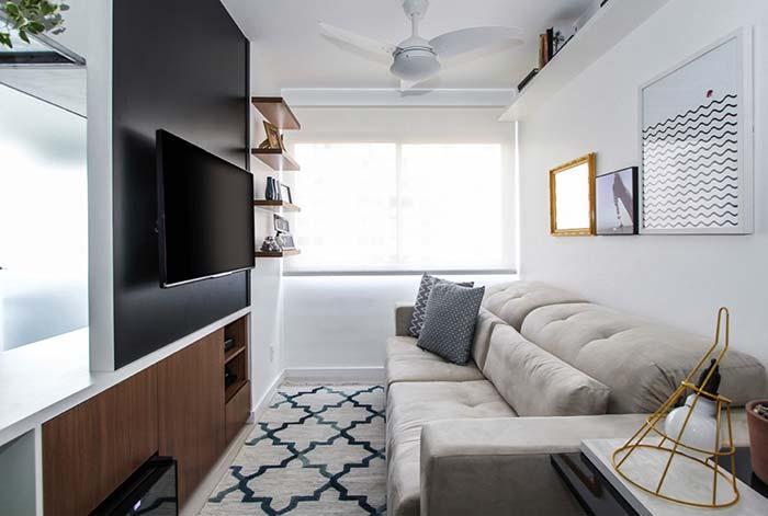 Decoração de sala pequena clean e confortável