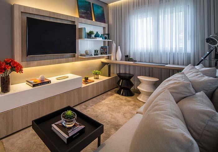 Decoração de sala pequena confortável