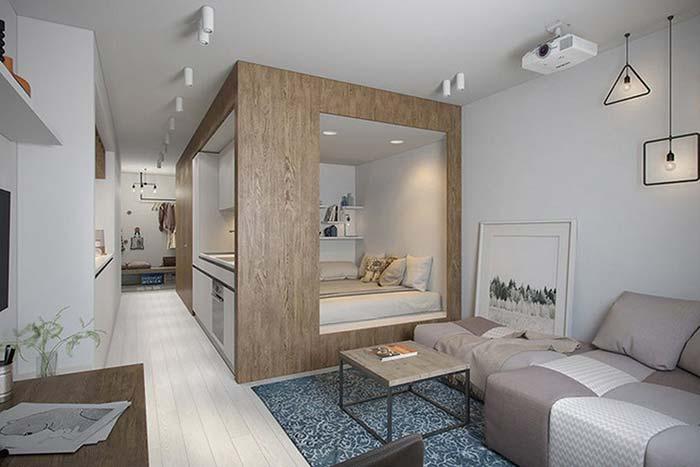 Decoração de sala pequena com sofá cama
