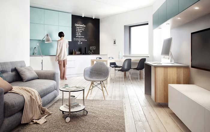 Decoração de sala moderna e jovem