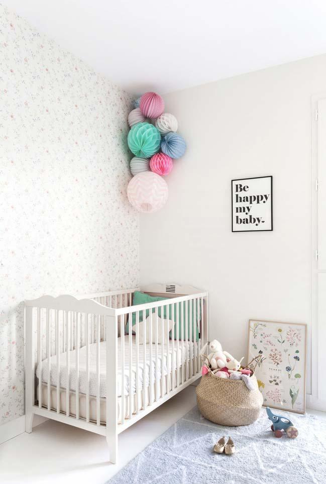 Decoração para quarto de bebê simples, barata, criativa e colorida: