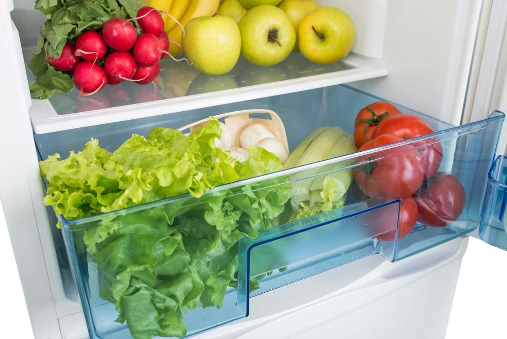Gaveta inferior da geladeira