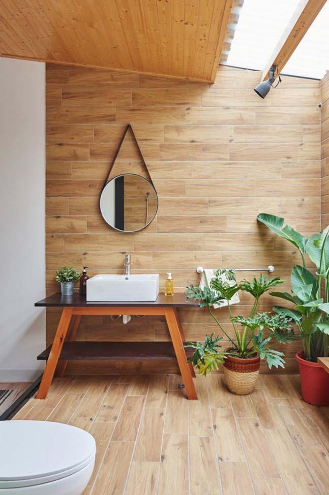 Porcelanato madeira na parede e no piso