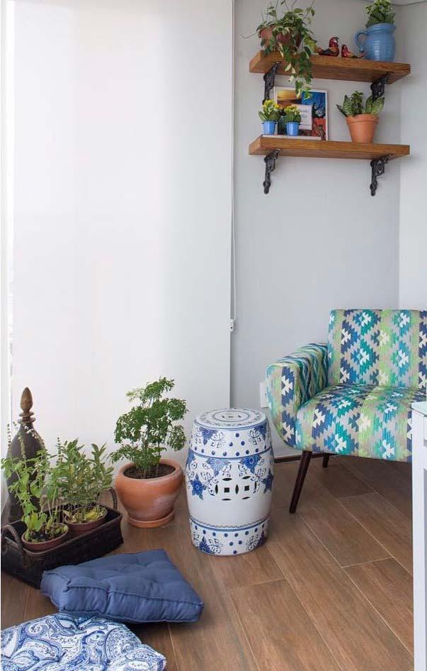 Porcelanato de madeira na varanda