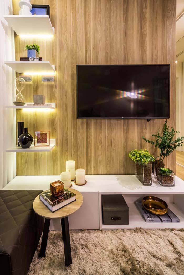 Porcelanato madeira no painel da TV