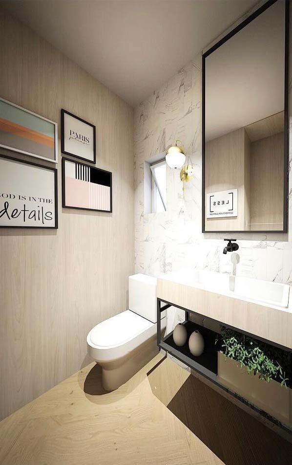 Banheiro com porcelanato madeira