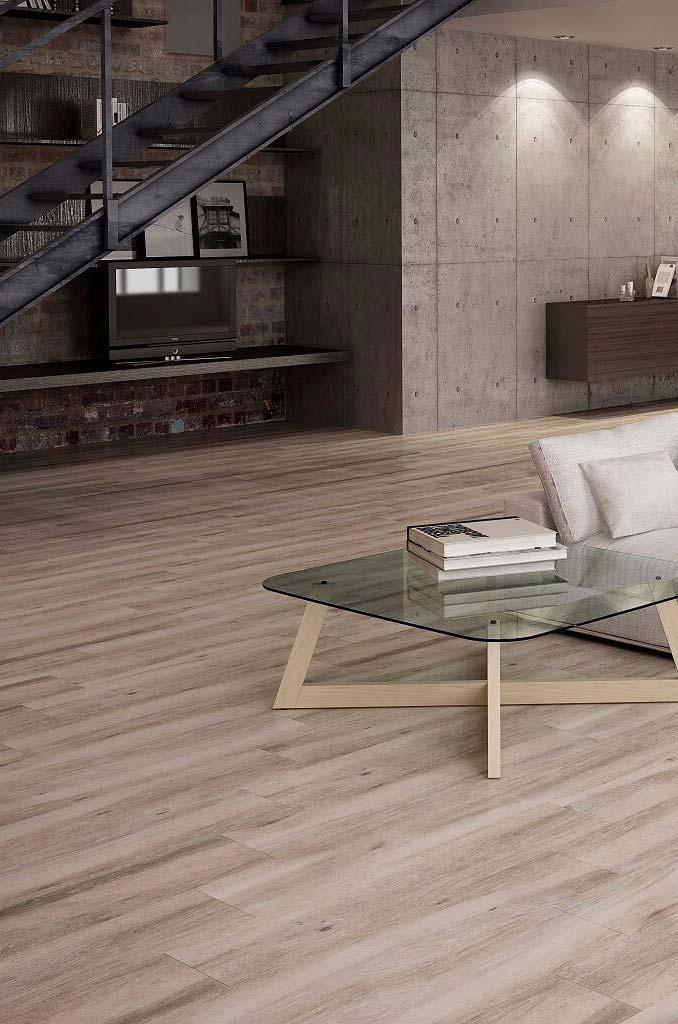 Porcelanato madeira compondo espaços amplos