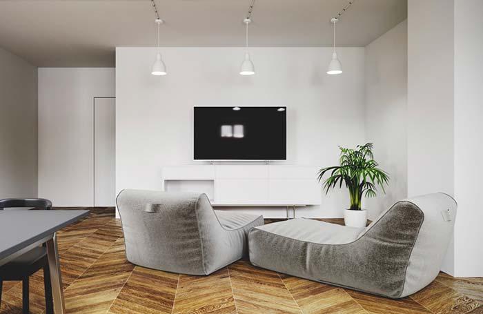 Porcelanato madeira para uma sala minimalista