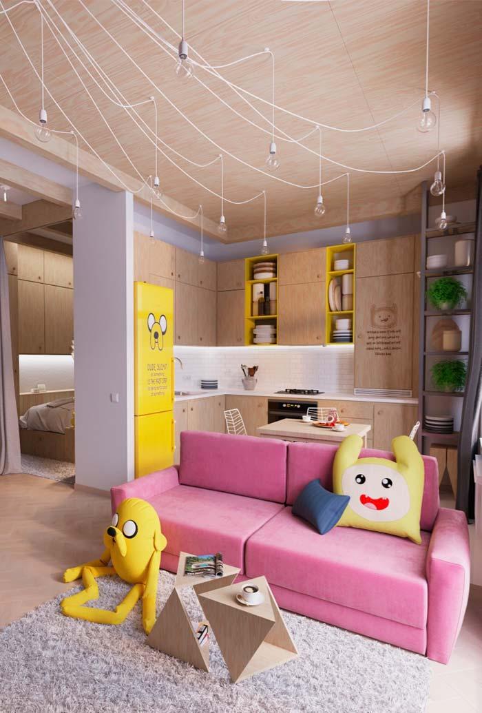 Cozinha planejada pequena em L jovial