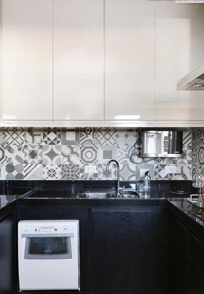 Cozinha planejada pequena preto e branca