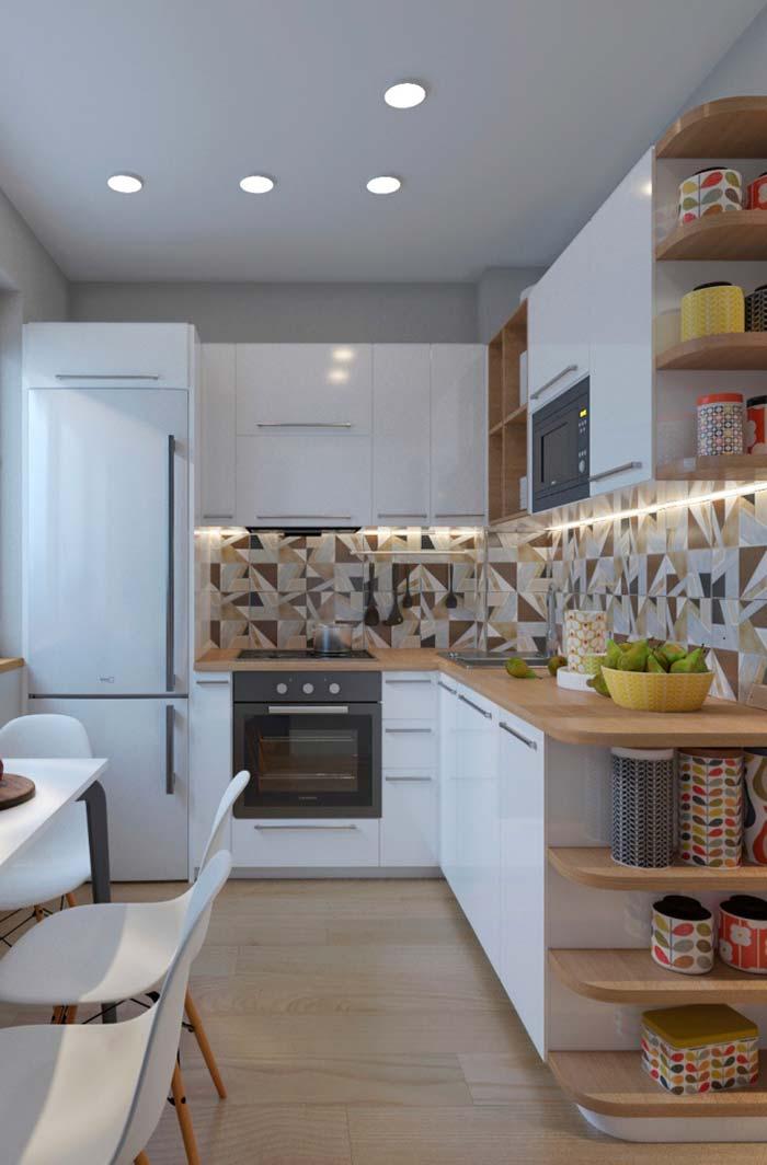 Cozinha planejada em l branca