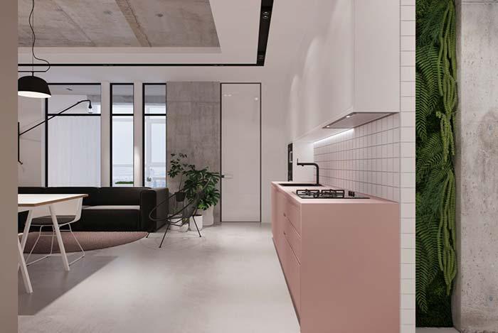 Cozinha planejada rosa pastel
