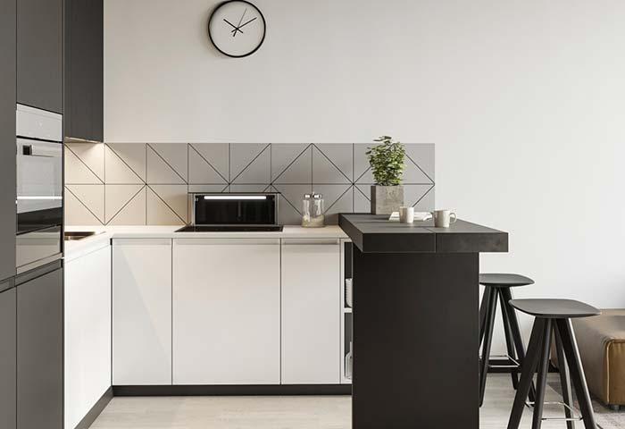 Cozinha simples com balcão