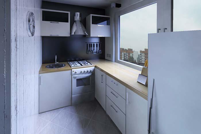 Cozinha de canto com janela