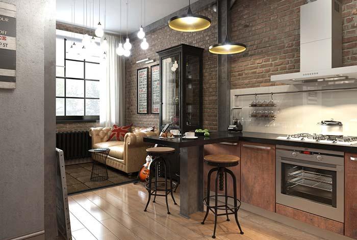 Cozinha pequena rústica e moderna