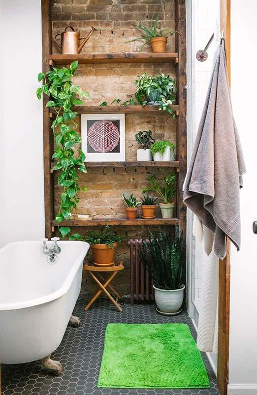 Jibóia no banheiro garantindo um ambiente rústico e aconchegante