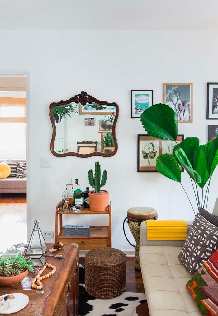 Palmeira leque em harmonia com elementos decorativos