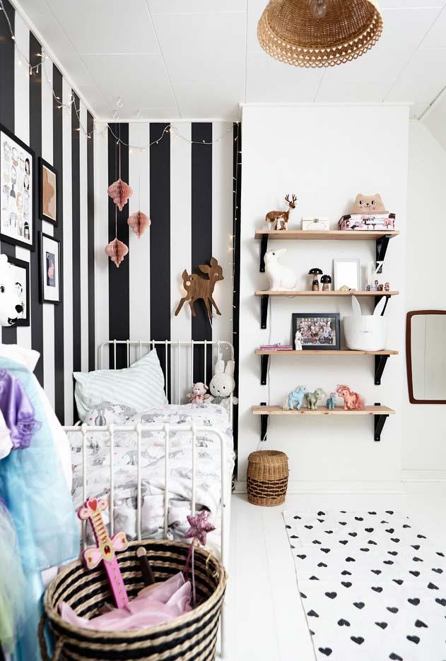 Equilíbrio de papel de paredes em quartos pequenos
