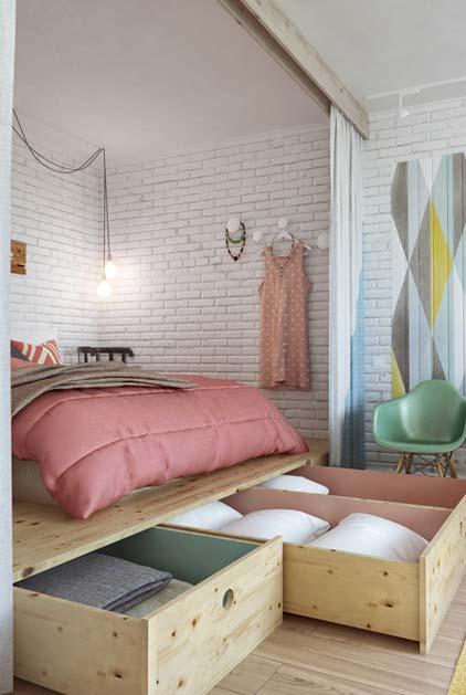 Grandes gavetas em MDF para quarto pequeno
