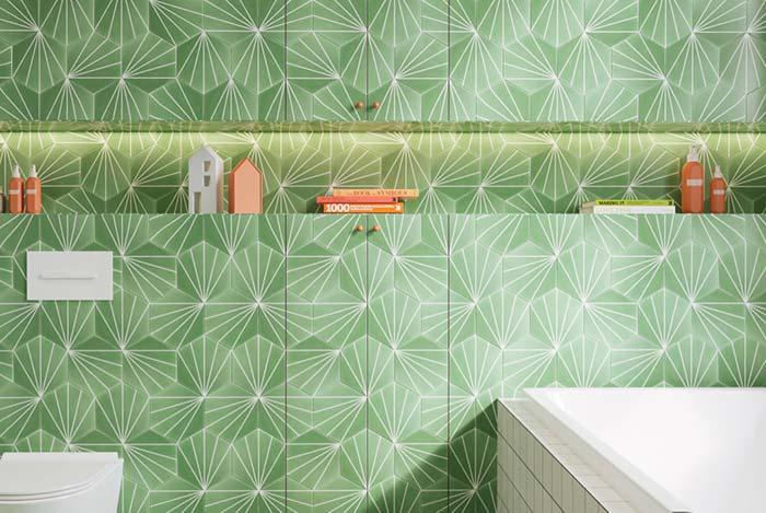 Banheiro de azulejos verdes