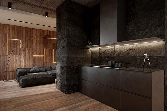 Pedras escuras na parede da cozinha