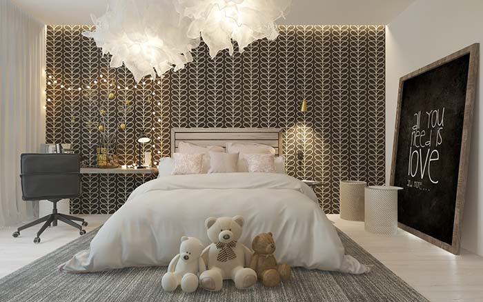 Papel de parede com estampa preta e branca