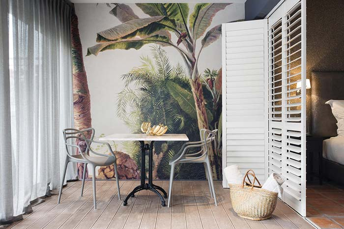 Papel de parede tropical para varanda