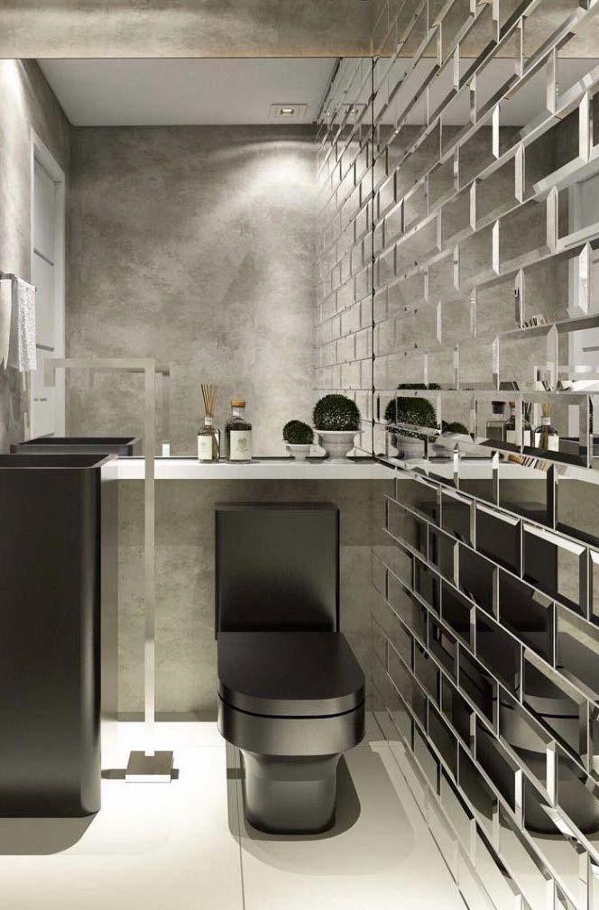 Banheiro com tijolo espelhado