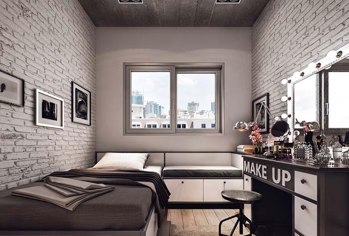 Revestimento de quarto com tijolo a vista